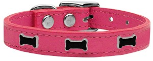 Black Bone Widget Genuine Leather Dog Collar Pink 22